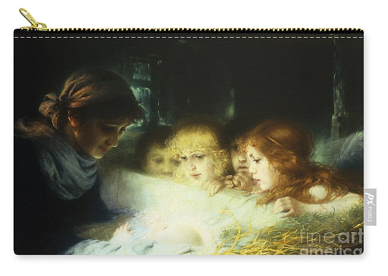Manger Carry-all Pouch featuring the painting In The Manger by Hugo Havenith