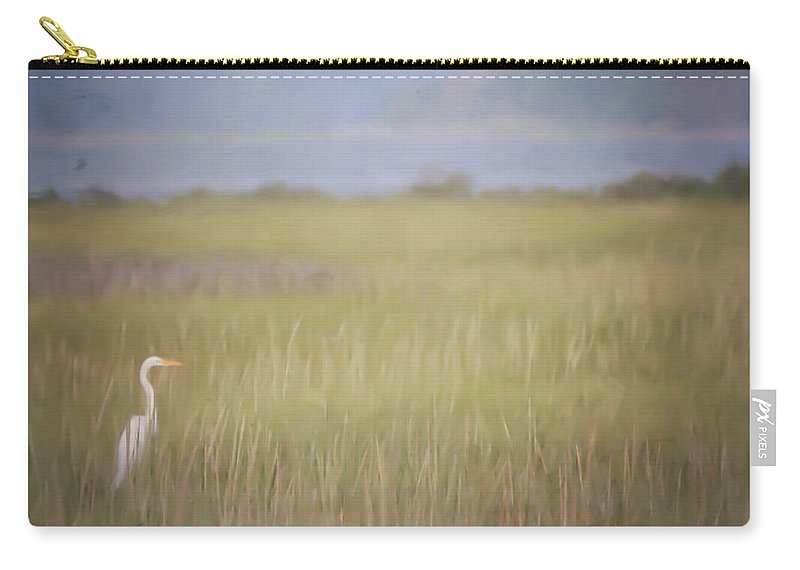 Egret Carry-all Pouch featuring the photograph In The Marsh by Kerri Farley