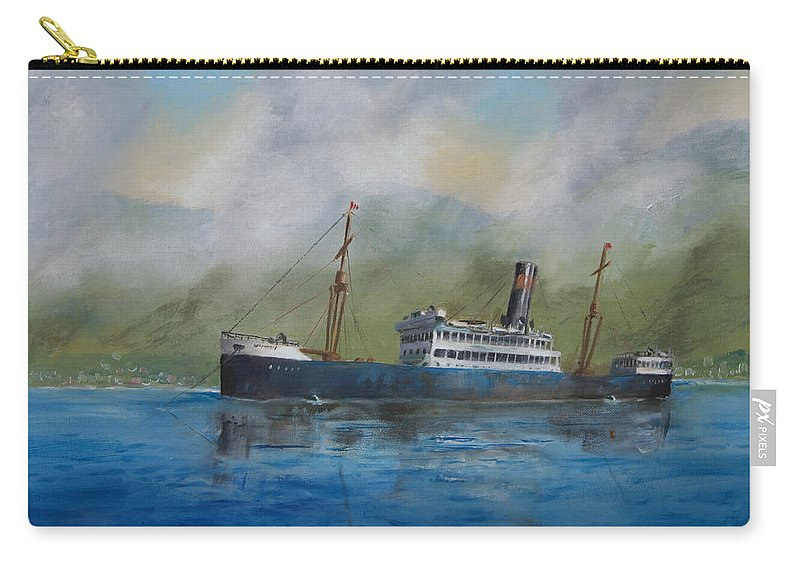 Ship Carry-all Pouch featuring the painting In The Mists Of Martinique by Christopher Jenkins