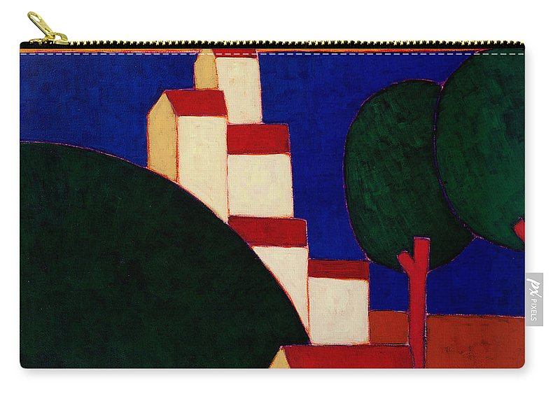 Representational Art Later 20th Cent Carry-all Pouch featuring the painting In The Provencal Alps by Eithne Donne