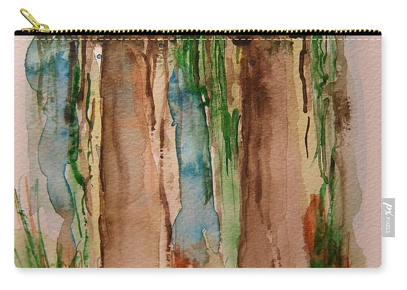 Rainforest Carry-all Pouch featuring the painting In The Rainforest by Elaine Duras