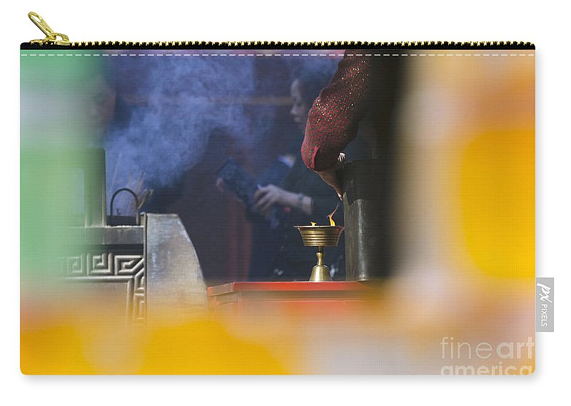 Buddhism Carry-all Pouch featuring the photograph Incense Presentation At Yonghegong Temple 2 Of 5 by Terri Winkler