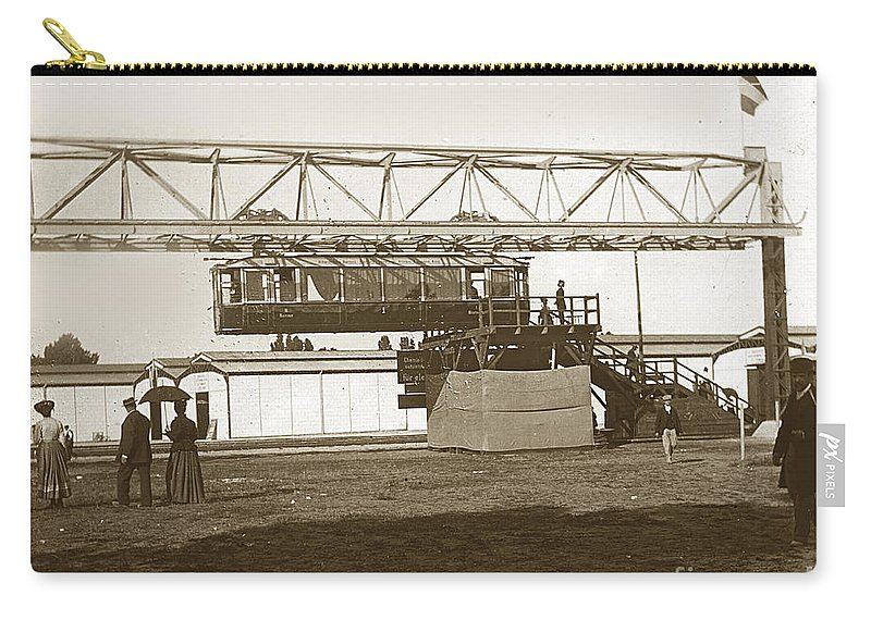 1900 Carry-all Pouch featuring the photograph Incredible Hanging Railway 1900 by California Views Archives Mr Pat Hathaway Archives