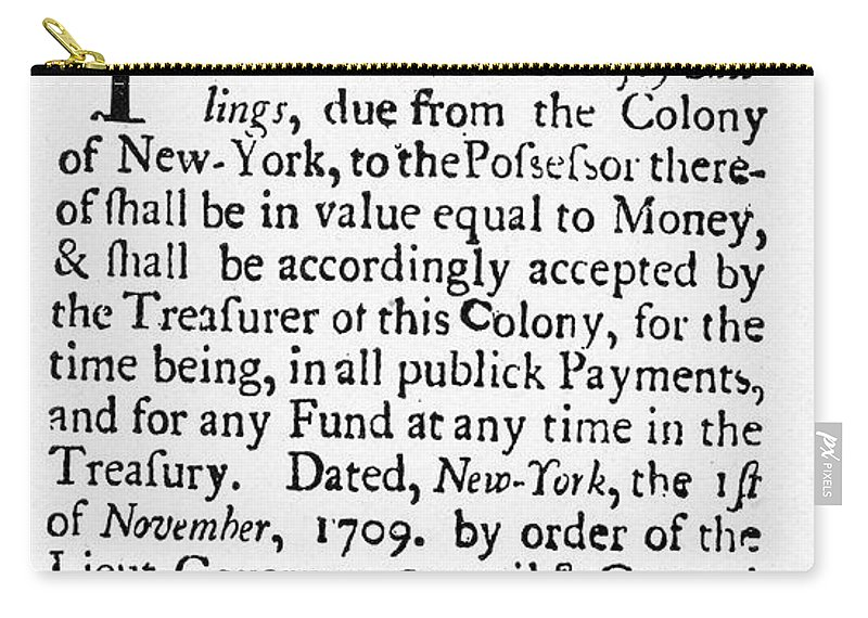 1709 Carry-all Pouch featuring the painting Indented Banknote, 1709 by Granger