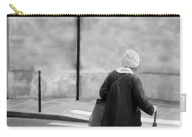 Crosswalk Carry-all Pouch featuring the photograph Independence - Street Crosswalk - Woman by Nikolyn McDonald