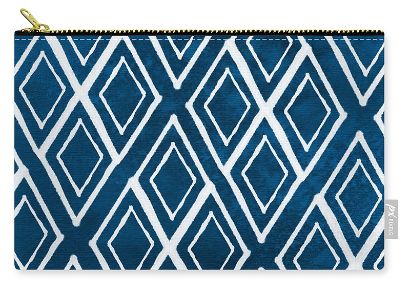 Indigo And White Carry-all Pouch featuring the painting Indgo and White Diamonds Large by Linda Woods