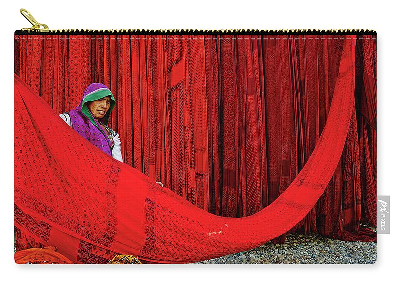 Expertise Carry-all Pouch featuring the photograph India, Rajasthan, Sari Factory by Tuul & Bruno Morandi