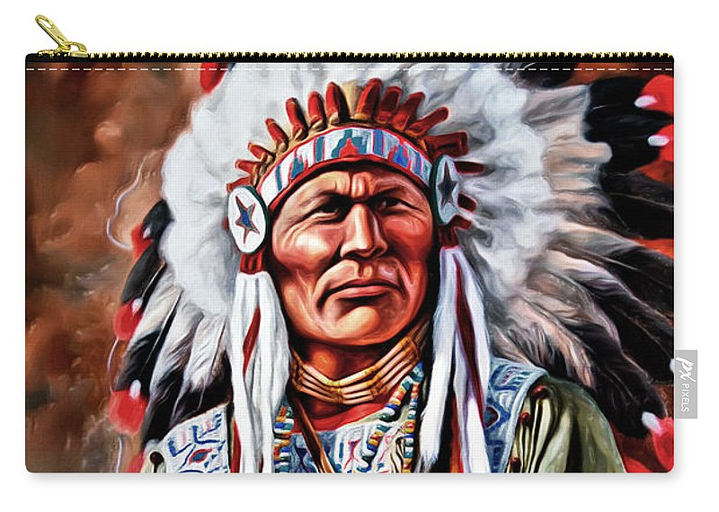 Indian Chief Carry-all Pouch featuring the photograph Indian Chief by Carlos Diaz