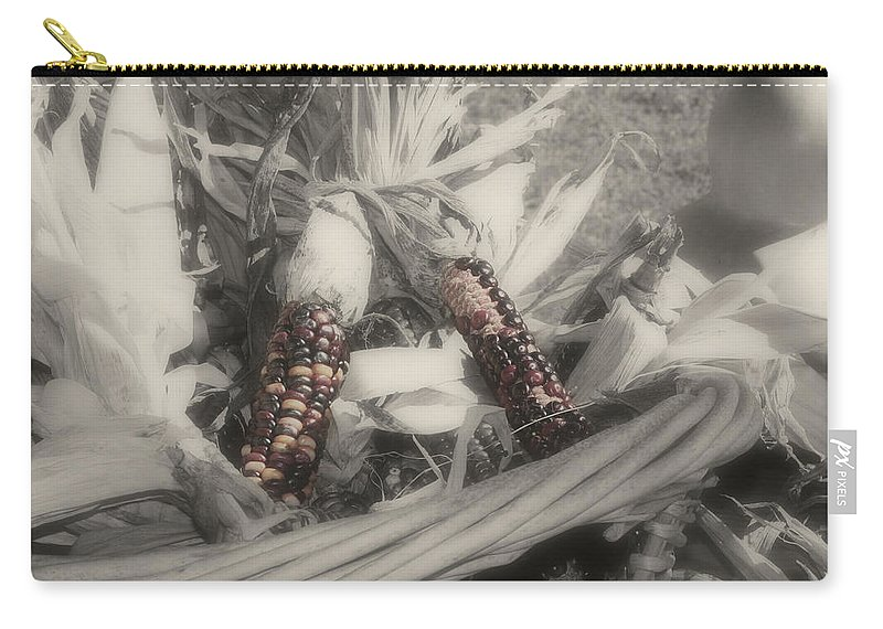 Black And White Carry-all Pouch featuring the photograph Indian Corn In Basket Partial Color by Smilin Eyes Treasures