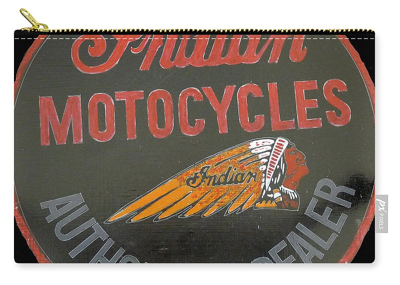 Bike Carry-all Pouch featuring the painting Indian Motocycle Dealer by Richard Le Page