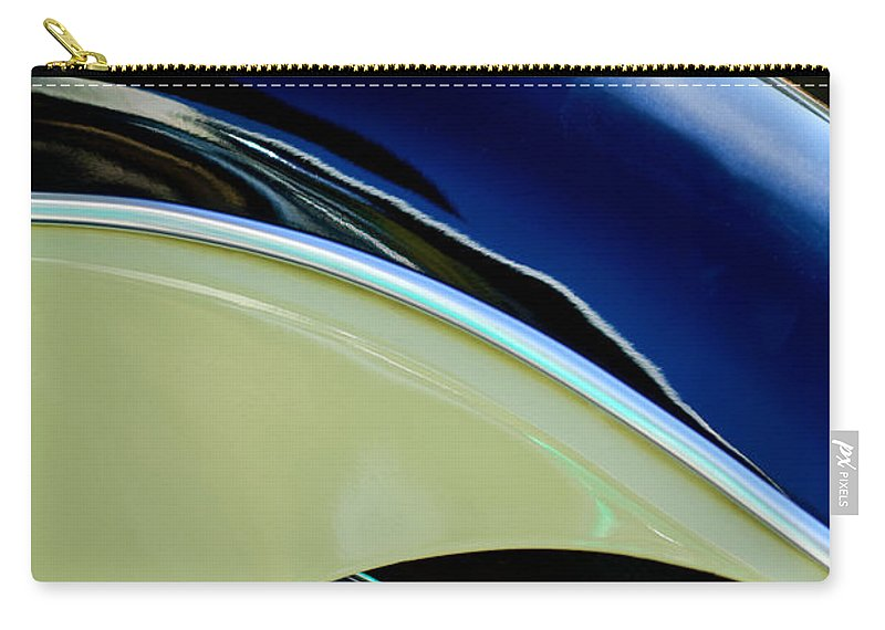 Indian Motorcycle Fender Emblem Carry-all Pouch featuring the photograph Indian Motorcycle Fender Emblem by Jill Reger