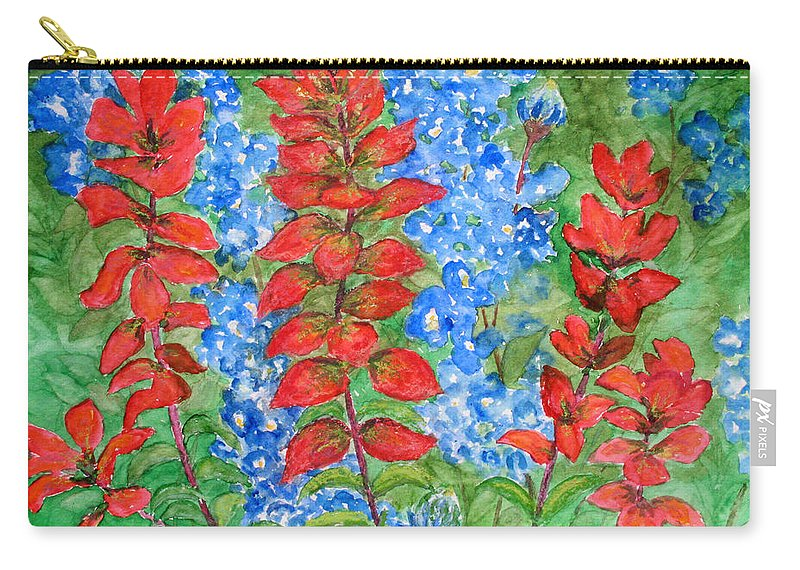 Indian Paintbrush Carry-all Pouch featuring the painting Indian Paintbrush And Bluebonnets by Patricia Beebe