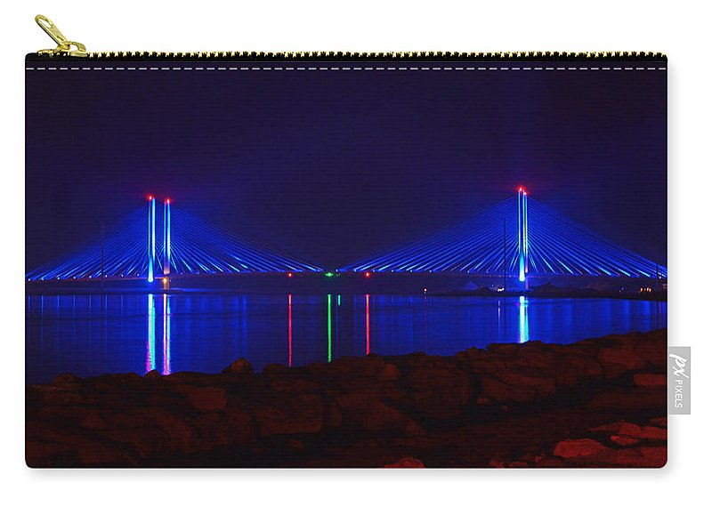 Indian River Bridge Carry-all Pouch featuring the photograph Indian River Inlet Bridge After Dark by Bill Swartwout Fine Art Photography