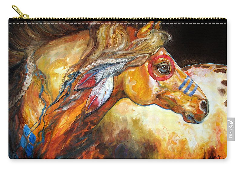 Horse Carry-all Pouch featuring the painting Indian War Horse Golden Sun by Marcia Baldwin