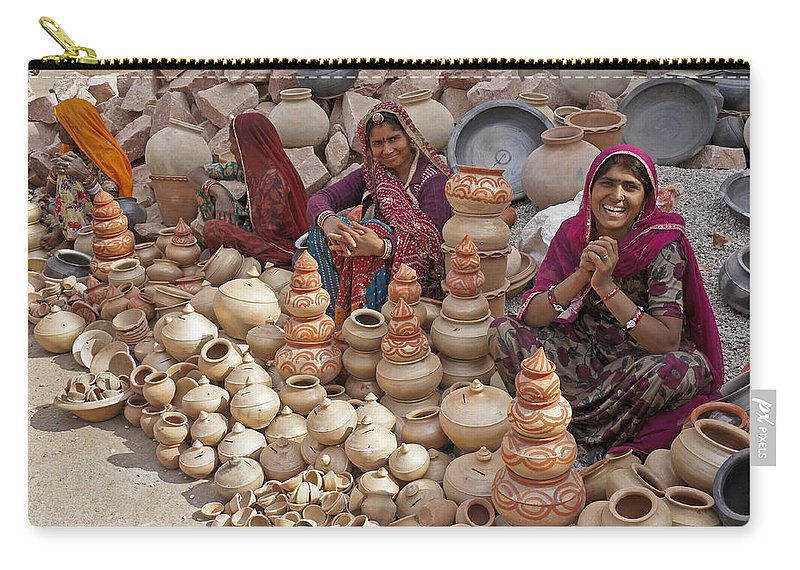 India Carry-all Pouch featuring the photograph Indian Women Selling Pottery by Michele Burgess