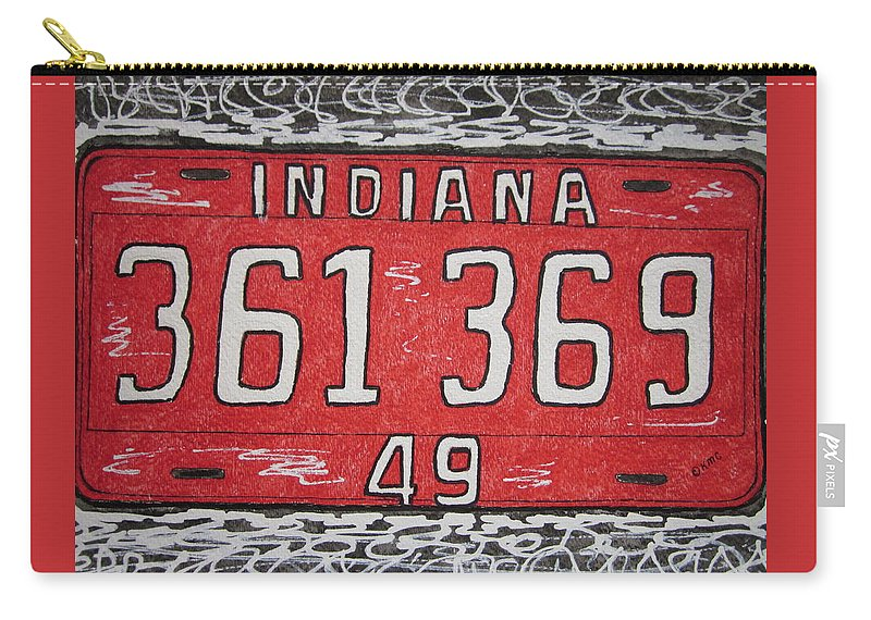 Indiana Carry-all Pouch featuring the painting Indiana 1949 License Platee by Kathy Marrs Chandler