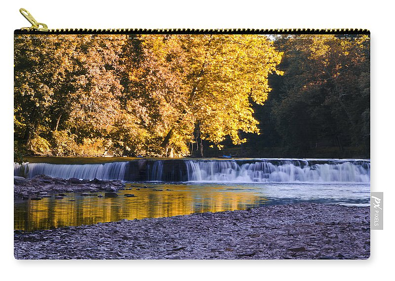 Indianhead Carry-all Pouch featuring the photograph Indianhead Dam - Perkiomen Creek by Bill Cannon