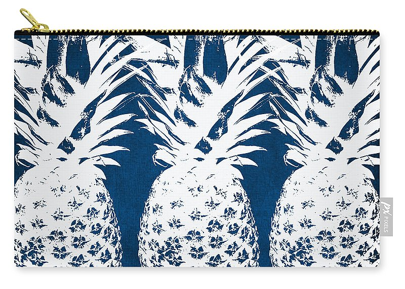 Indigo Carry-all Pouch featuring the painting Indigo And White Pineapples by Linda Woods