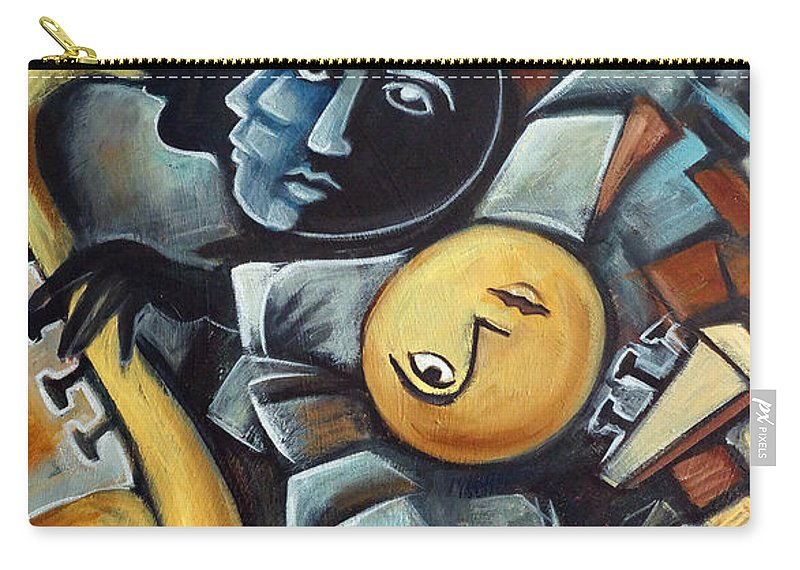Cubism Carry-all Pouch featuring the painting Indigo Blues by Valerie Vescovi
