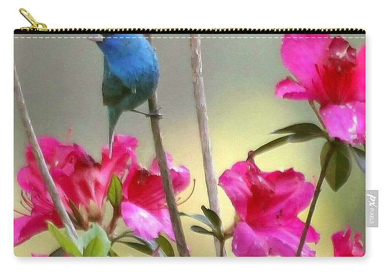 indigo Bunting Carry-all Pouch featuring the photograph Indigo Bunting In The Azaleas by Myrna Bradshaw