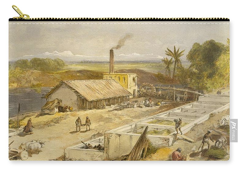 Indian Carry-all Pouch featuring the drawing Indigo Factory - Bengal, From India by William 'Crimea' Simpson