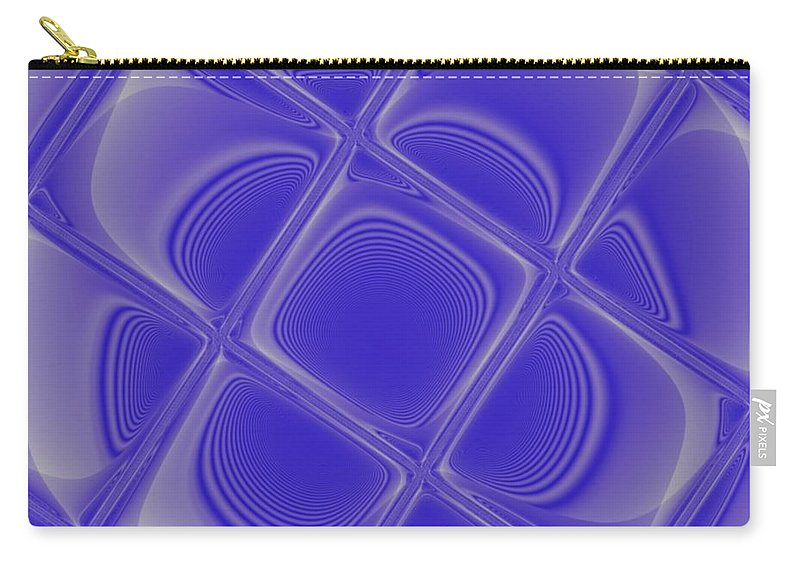 Geometric Carry-all Pouch featuring the digital art Indigo Petals Morphed by Pharris Art