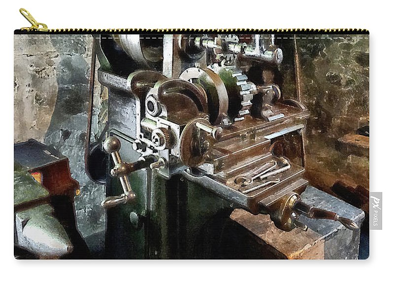 Machine Shop Carry-all Pouch featuring the photograph Industrial Gear Cutting Machine by Susan Savad