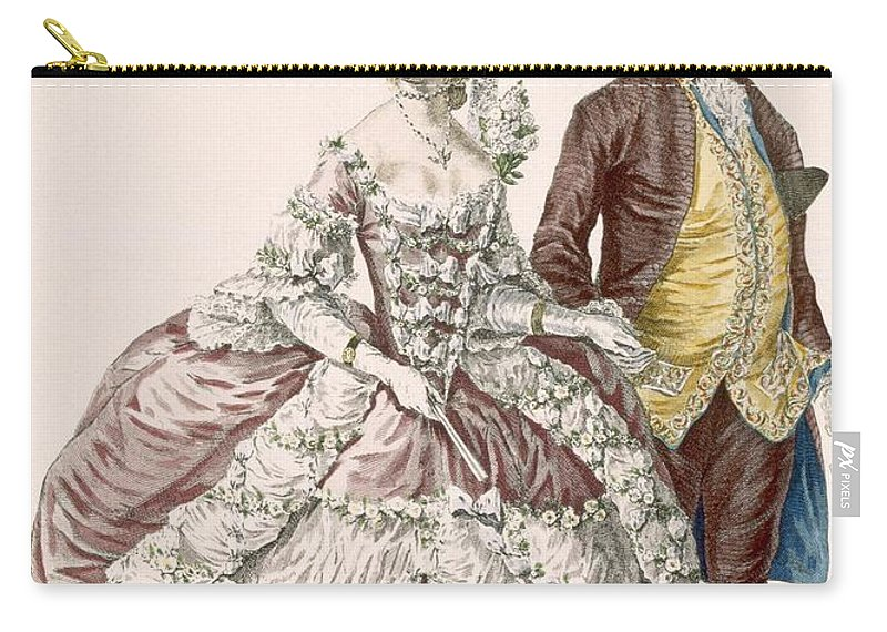 Carry-all Pouch featuring the drawing Informal Wedding Dress, Engraved by Pierre Thomas Le Clerc