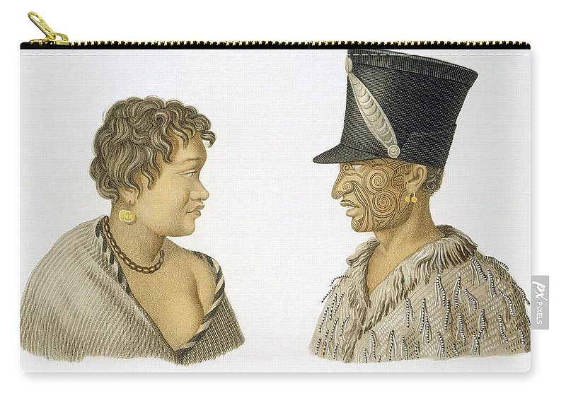 Illustration Carry-all Pouch featuring the drawing Inhabitants Of New Zealand, 1826 by French School