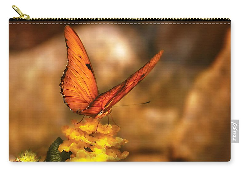 Julia Heliconian Carry-all Pouch featuring the photograph Insect - Butterfly - Just A Bit Of Orange by Mike Savad