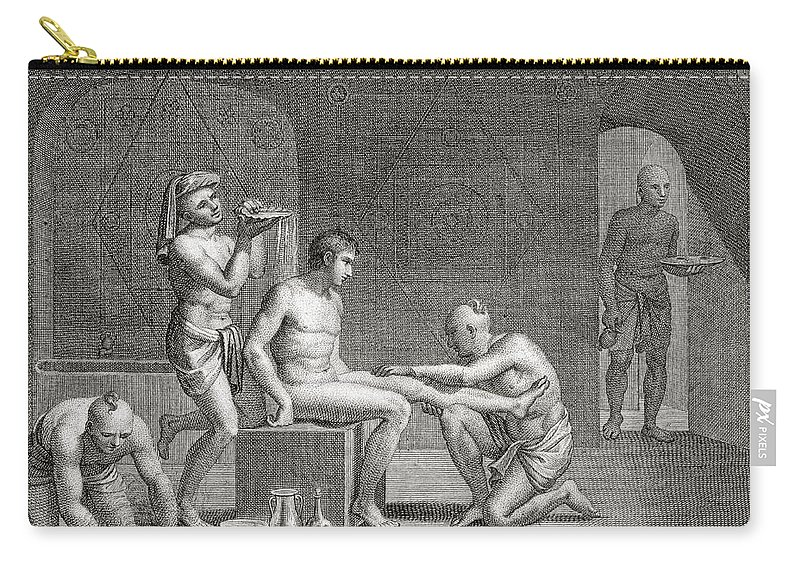 Egypt Carry-all Pouch featuring the drawing Inside An Egyptian Bathhouse, C.1820s by Dominique Vivant Denon