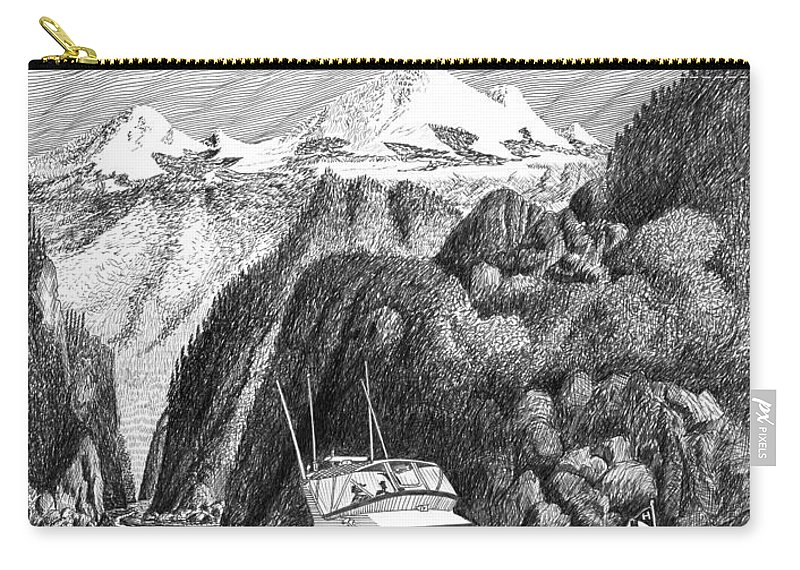Yachting Carry-all Pouch featuring the drawing Cruising The Inside Passage by Jack Pumphrey