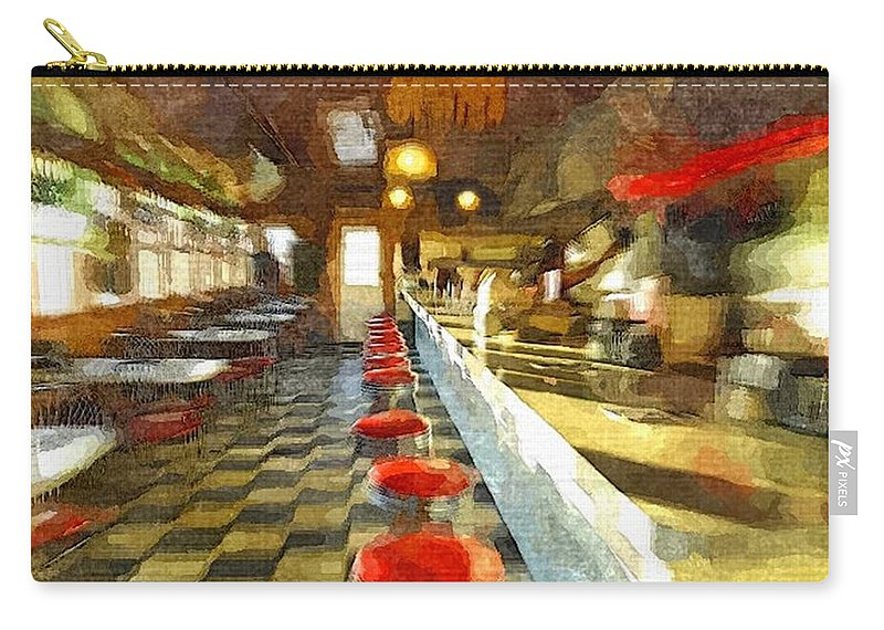 Interior Carry-all Pouch featuring the painting Inside The Cafe by Rachel Niedermayer