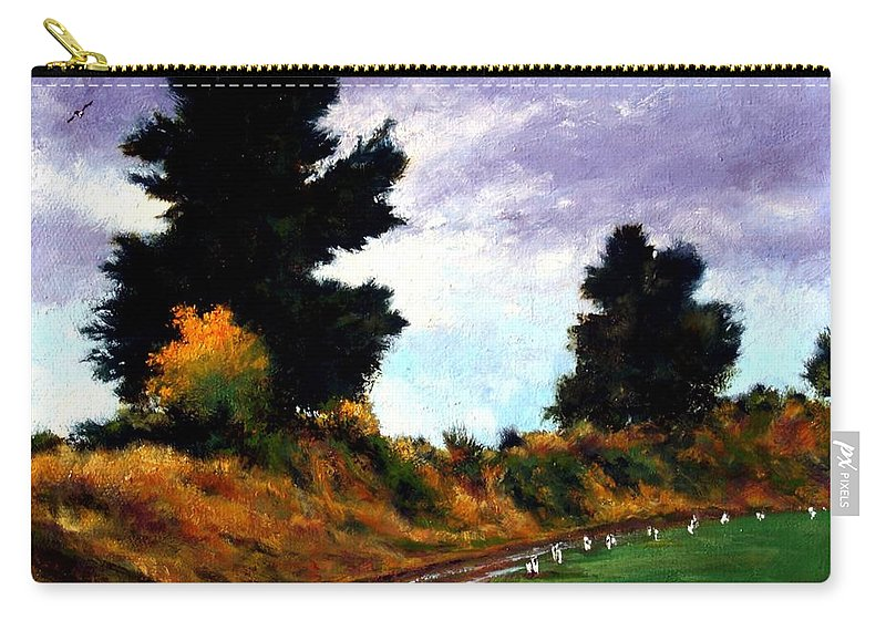 Landscape Carry-all Pouch featuring the painting Inside the Dike by Jim Gola