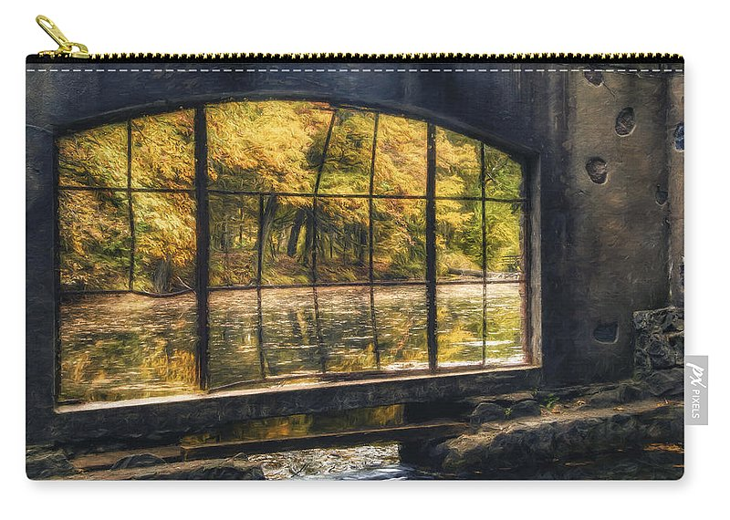 Window Carry-all Pouch featuring the photograph Inside The Old Spring House by Scott Norris