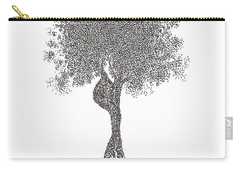 Tree Carry-all Pouch featuring the drawing Insomnia by Andrea Currie