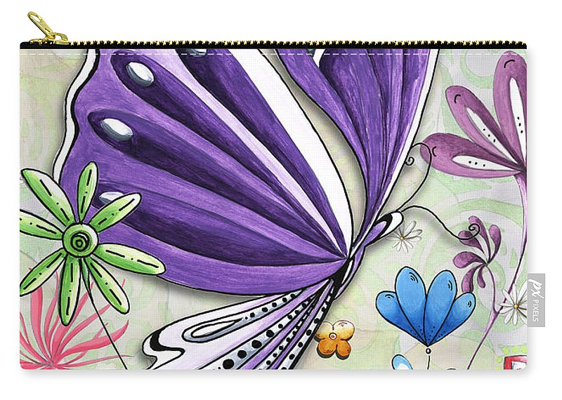 Butterfly Carry-all Pouch featuring the painting Inspirational Butterfly Flower Art Inspiring Quote Design By Megan Duncanson by Megan Duncanson