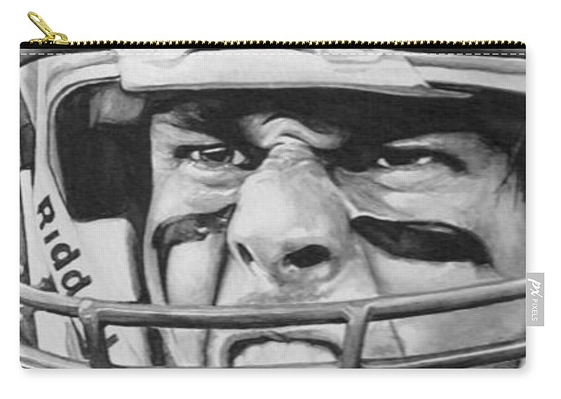 Football Carry-all Pouch featuring the painting Intensity Tom Brady by Tamir Barkan