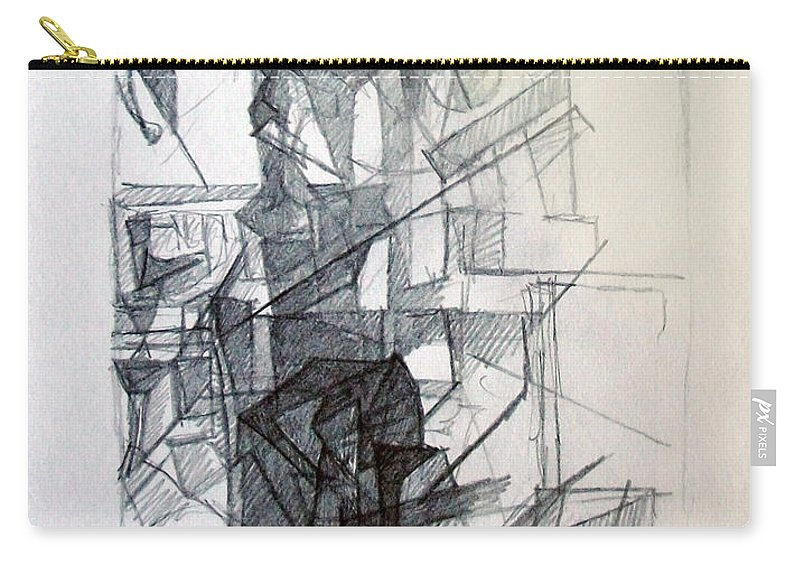 Torah Carry-all Pouch featuring the drawing Interchange Between Ambition And Restraint 1 by David Baruch Wolk