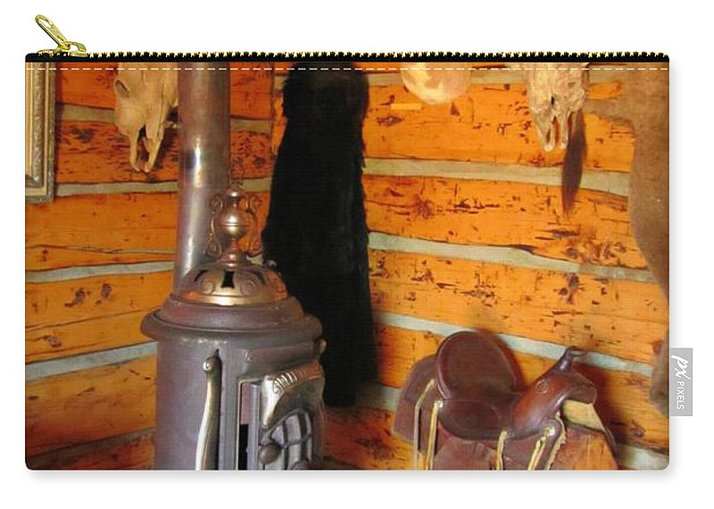 Unique Still Life Art Carry-all Pouch featuring the photograph Interior Cabin At Old Trail Town by John Malone