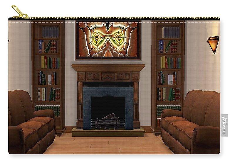 Interior Carry-all Pouch featuring the digital art Interior Design Idea - Barn Owl by Anastasiya Malakhova