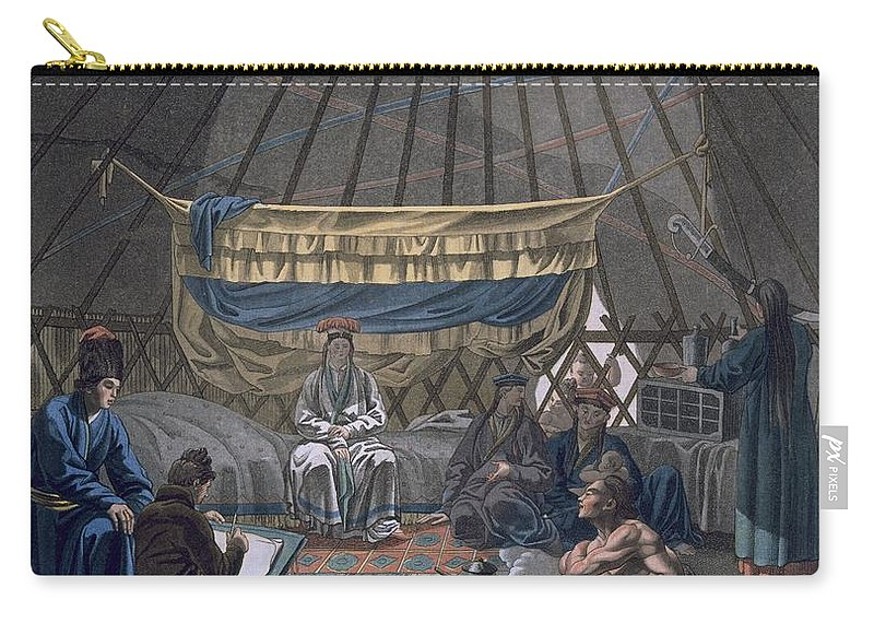 Illustration Carry-all Pouch featuring the drawing Interior Of A Kalmuk Yurt, 1812-13 by E. Karnejeff