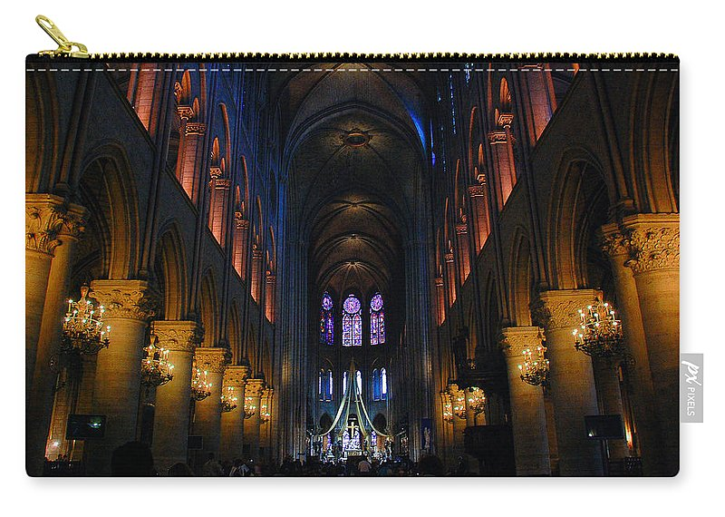 God Carry-all Pouch featuring the photograph Interior Of Notre Dame De Paris by Dany Lison