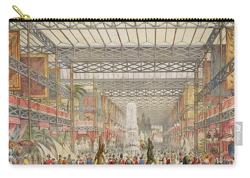 Fountain Carry-all Pouch featuring the drawing Interior Of The Crystal Palace, Pub by Augustus Butler