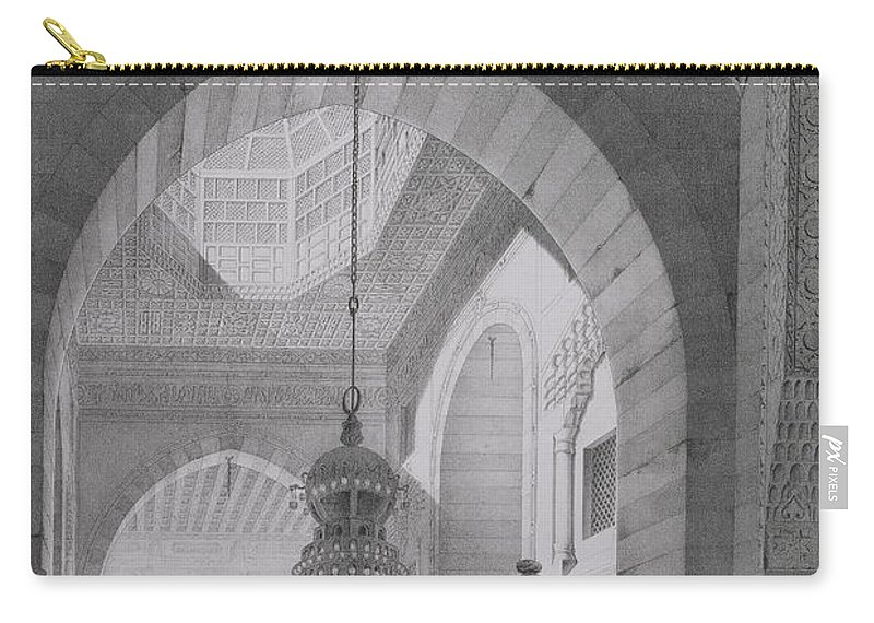 Islamic Architecture Carry-all Pouch featuring the drawing Interior Of The Mosque Of Kaid-bey by Pascal Xavier Coste