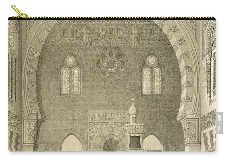 Mosques Carry-all Pouch featuring the drawing Interior Of The Mosque Of Qaitbay, Cairo by French School