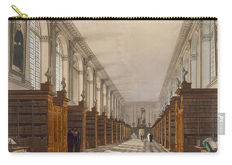 Shelf Carry-all Pouch featuring the drawing Interior Of Trinity College Library by Augustus Charles Pugin