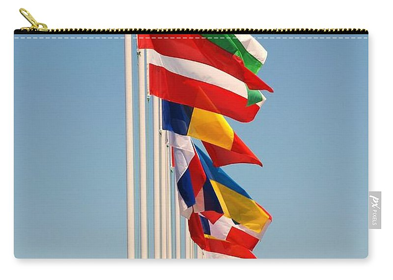 Flags Carry-all Pouch featuring the photograph International Flags Nisyros by David Fowler