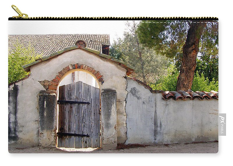 California Missions Carry-all Pouch featuring the photograph Into The Light, Mission San Miguel Archangel, California by Denise Strahm