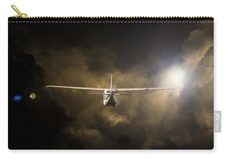 Cessna 172 Skyhawk Carry-all Pouch featuring the photograph Into The Light by Paul Job